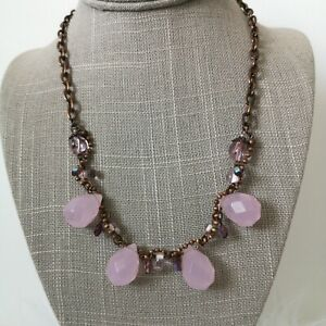 Pink Quartz Style Bronze Tone Collar Necklace Large Facetted Glass Beads Boho