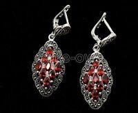 New Women Fashion 925 Sterling Silver marcasite RUBY Earrings Jewelry