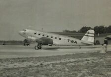 """1930-40s TWA DC-3 Photo Airplane Taxiing Out The Lindbergh Line 3.75""""x6"""""""