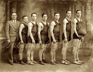 1920s photo Negative BASKETBALL Team Players SNEAKER Players PADS Stitched BALL