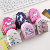Women Girls Mini Unicorn Coin Purse Zipper PU Leather Card Key Bag Wallet Pouch