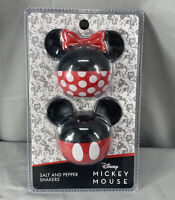 Disney Ceramic Salt and Pepper Shakers Set Minnie and Mickey Mouse NEW Red Black