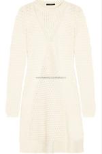 [Alexander McQueen] Honeycomb Cable Knit Wool Dress Cream Ivory Sz Medium / NWT
