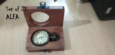Nautical Brass Pocket Compass Pocket Watch With Wooden Box Set of 25 Pieces