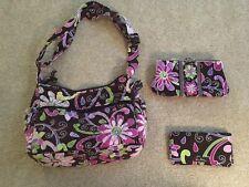 Vera Bradley Purse W/ Wallet & Checkbook, Blue W/ Purple & Green Flowers