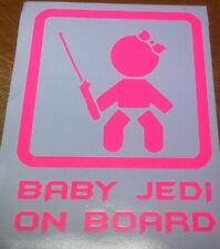 STAR WARS  BABY GIRL JEDI ON BOARD VINYL DECAL STICKER   IN BABY PINK