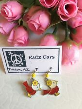 Silvertone Red and White with Yellow Flower Bird (Cardinal) Dangle Earrings