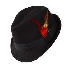 Unisex Negro Fedora Sombrero de Piel Sombrero de Fieltro Algodón Poliéster  Reichssportfeld Talla S M NUEVO 4adc80aff70