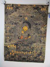 altes Buddha Jambhala Gott Thangka, 1000 Details Gemälde  Seide 90cm Tibet ~1970