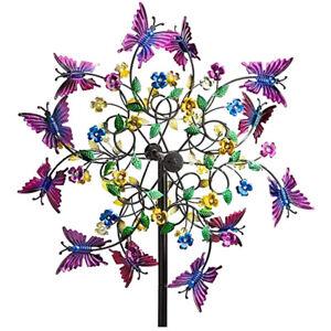 Colorful Butterflies Flower Garden Wind Spinner Stake Outdoor Yard Decor