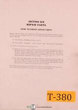 Traub Numeripoint and Manual Mill Machine, Repair Parts Manual 1975