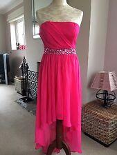 Size 10 Fuschia Pink Diamante Chiffon Strapless Dress Bridesmaid Cocktail Prom