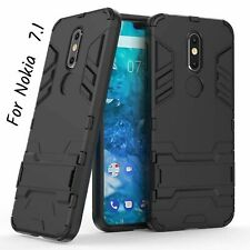 For Nokia 7.1 Case Dual Layer Armor Hard Slim Hybrid Kickstand Cover Hard Black