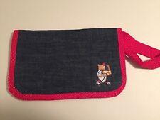 Handmade Fabric Travel Diaper Wipe 2 Pocket Caddy Pouch Tote Baseball EUC