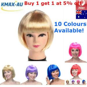 Womens Short Straight BOB Wigs Hair Sleek Synthetic Cosplay Party Wig Bang Girls