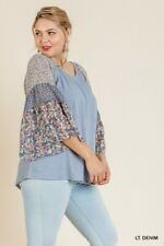 Umgee Mixed Floral Print Bell Sleeve Top Plus Size