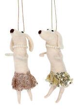 2 Gisela Graham Dansant Chien en Nappe & Perles pendant Décorations Arbre de