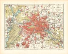 Alte historische Stadtkarte Berlin Umgebung Stadtplan Lithographie 1902
