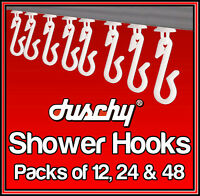 DUSCHY REPLACEMENT WHITE SHOWER CURTAIN HOOKS GLIDERS RUNNERS HOOK - 12/24/48