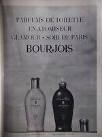 PUBLICITÉ DE PRESSE PARFUM DE TOILETTE EN ATOMISEUR GLAMOUR BOURJOIS