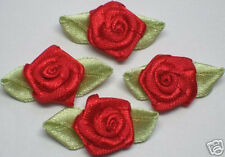 100 pcs Red Satin Ribbon Rose w/ Leaf Sewing Appliques