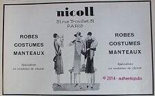 PUBLICITE NICOLL COSTUMES DE CHEVAL ROBES MANTEAUX DE 1927 FRENCH AD ART DECO