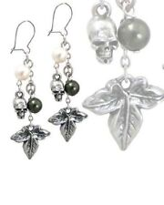 Pair Alchemy Gothic Poison Ivy earrings Swarovski Pearl Skull Drop Dangle