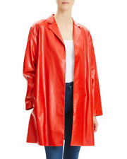 Theory Women's Red Leather Jacket Size UK 8 100% Real Lamb Leather