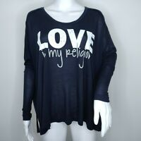 Peace Love World Long Sleeve Tissue Tee XS Blue Micro Modal Love My Religion Top