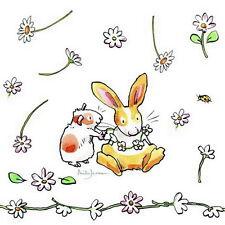 "Anita Jeram 20 Servietten""Daisy Chain""Frühling*Hase Hamster*Gänseblümchen*25x25"