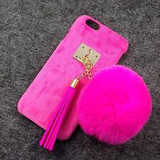 Cute Fashion Womens Rabbit Fur Plush Ball Cover Case For iPhone 5/SE/6/7/Plus