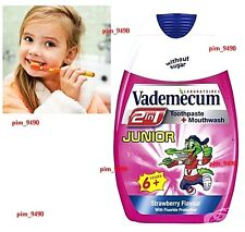 VADEMECUM 2in1 Toothpaste Mouthwash JUNIOR 6+ Years 75ml Sugar Free STRAWBERRY