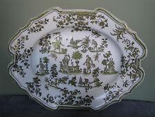 Ancien grand plat céramique SUD OUEST en camaïeu vert dans le goût de MOUSTIERS