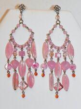Dangling Pink Art Glass Bead Silver Tone Pierced Chandelier Earrings