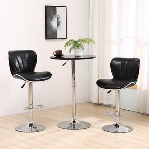 2 Bar Stool+Table Set Chrome Base Gas Lift Swivel Faux Leather Kitchen Breakfast