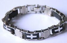 Akzent 22cm Edelstahl Biker Armband poliert mit Clipverschluss