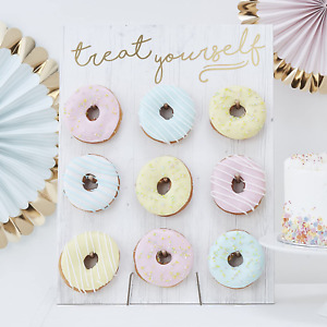 Ginger Ray Gold Foiled Treat Yourself Donut Wall Party Display Fits 9 Doughnuts,