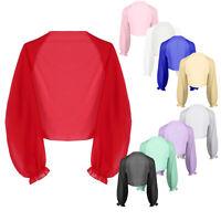 Women Sheer Chiffon Long Raglan Sleeve Bolero Shrug Kimono Cardigan Shawls Tops