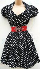 ATMOSPHERE SIZE 8 APPLE PRINT BLACK DRESS 50s SWEETHEART NECKLINE US 4 EU 36