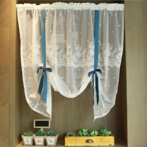 Short Kitchen White Lace Curtains Ribbon Tie-up Curtains Tulle kitchen Window