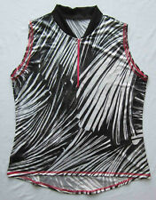Women's Cycling Bike Jersey Abstract Print with Shimmer Sleeveles NWOT XL