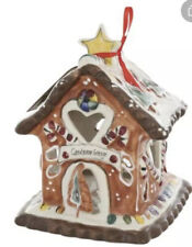 "Blue Sky Clayworks Christmas ""Candycane Cottage"" Candle House T-Lite Nwt"