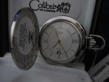 COLIBRI Silver Tone Elegant White & Gold FACE POCKET WATCH & Engravable Shield