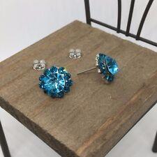High Quality Aqua Crystal Titanium Post Stud Earrings US Seller Made in Korea