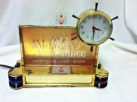 Old Milwaukee beer sign back bar cash register topper lighted clock chime light