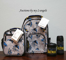 Pottery Barn Kids ALLOVER BATMAN Small Backpack Lunch Box Water Bottle Thermos