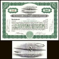 Detroit Aircraft Corporation MI 1930 Stock Certificate