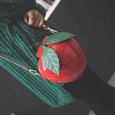 Women's Apple Shape Single Shoulder Bag Cute Coin Purse Girls Crossbody 2 Color
