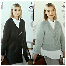 KNITTING PATTERN Ladies Easy Knit Long Jacket and Cardigan Chunky 5496
