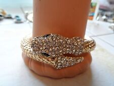 Yellow Gold Tone Mesh & Rhinestone Snake Bracelet Wraps Around Your Arm 32.1 Gr.